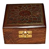 DronaIndia Girls Jewelry Box Square Shape Wood Carving with Brass Inlay from India