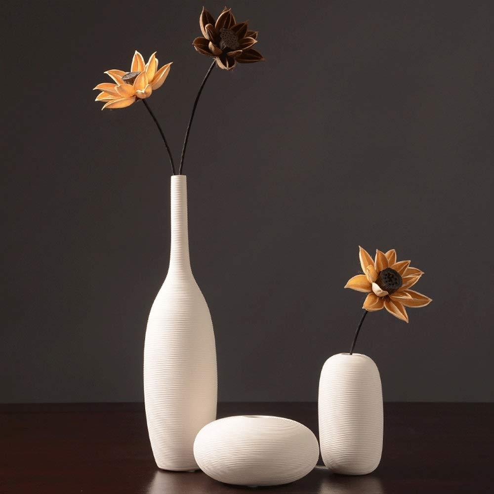ホワイトセラミック花瓶、装飾モダンミニマリストヨーロッパのフラワーアレンジメントフラワーフラワー、リビングルームの家の装飾 B07RK3ZDBC