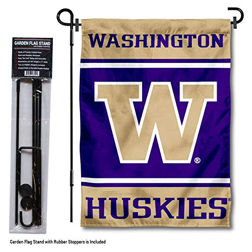 (College Flags and Banners Co. Washington Huskies Garden Flag with Stand Holder)