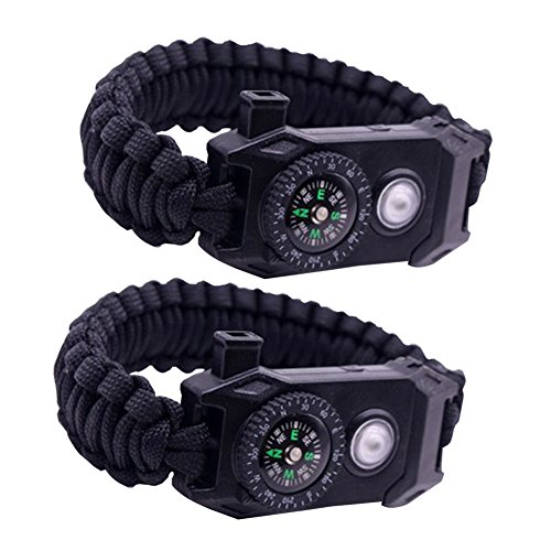Knife Rescue Bravo (2 PACK Paracord Bracelet Survival Gear Kit - LED SOS Emergency Function Flashlight, Embedded Compass, Rescue Rope, Emergency Whistle, Fire Starter, Knife Blade, 6 in 1 Tactical Set (Black))