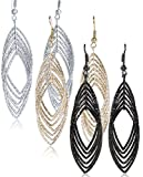 "Gold and Luster Women Jewelry Drop Dangle Earrings Set Diamond Cut Silver And Gold Plated 2 Pairs (GL3: Medium Dangle 2.9"" Triple Tones)"