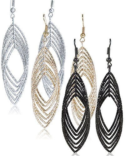 Gold and Luster Women Jewelry Drop Dangle Earrings Set Diamond Cut Silver And Gold Plated 2 Pairs (GL3: Medium Dangle 2.9 Triple Tones)