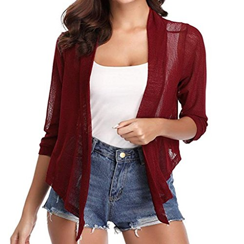 (Twinsmall Women Chiffon Sun Protection Cardigan Blouses Shirt Overall Tops Outerwear (S,Wine Red))