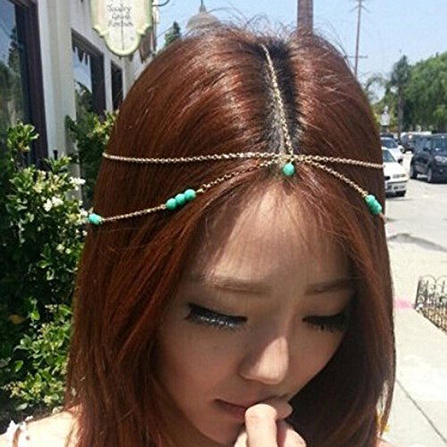 Pandahall 1 Pcs Fashion Women Bohemian Metal Head Chain Forehead Dance Headbands Hair Jewelry, Golden