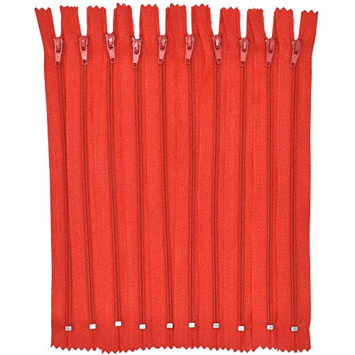 Renashed 60Pcs 12Inch Nylon Coil Zippers for Tailor Sewer Sewing Craft Crafter's Specia (Red) - Red Zipper