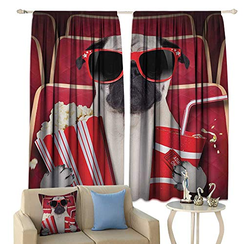 crabee Thermal Curtains Pug Funny Dog Watching Movie Popcorn Soft Drink and Glasses Animal Photograph Print Blackout Red Cream Ruby
