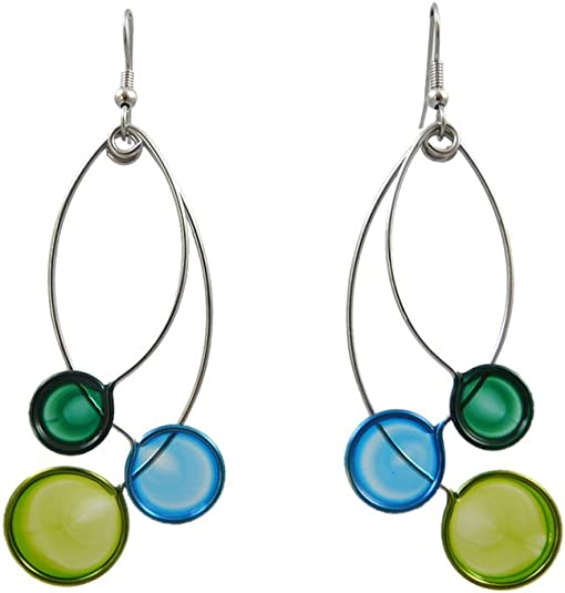 Blue-green center in silver filigree setting on necklace and earrings