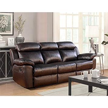Amazoncom Abbyson Living Brody Top Grain Leather Reclining Sofa
