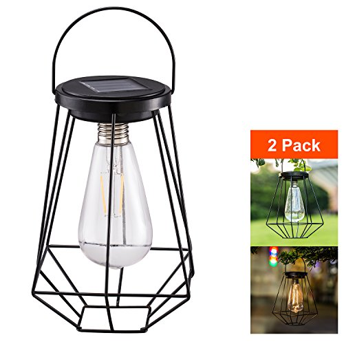 - Outdoor Solar Lanterns Lamps - 2 Pack Tabletop Filament LED Edison Bulbs Hanging Solar Powered Garden Decorative Table Lights for Patio Backyard Courtyard Lawn Landscape Décor (ST64 Filament Bulb)