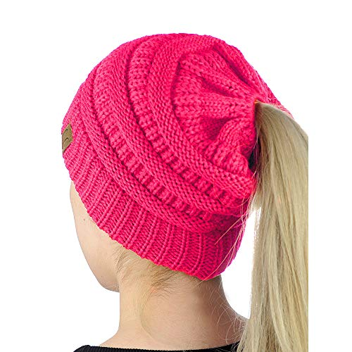 Hats with Ponytail Hole Cozy Beanies Head Gear with Elastic Opening in Middle Candy Pink DB9011