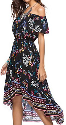 Printed Pleated Swing Short Sleeve Black Maxi Off Cromoncent Dresses Shoulder Women's BWcApZqXwX