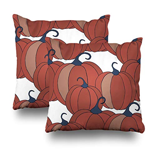 Alricc Set of 2 Pumpkins Pattern Halloween Background Colorful Rapport for Textile Fabric Wallpaper with Vegetables Decorative Throw Pillows Cushion Cover for Bedroom Sofa Living Room 18X18 Inches -