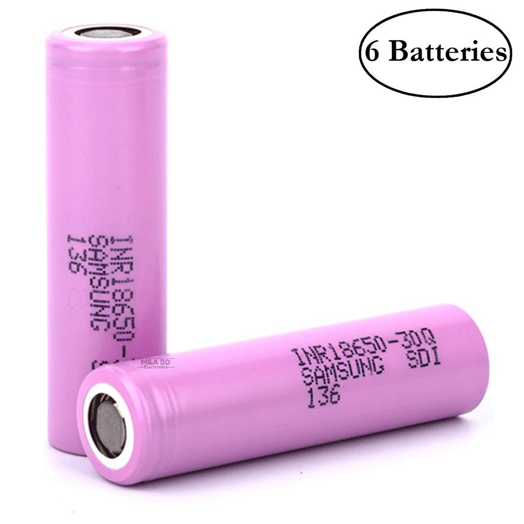 Samsung INR18650-30Q High Drain 3000mAh 3.7V 15A Rechargeable Flat Top Battery, (6 Pcs) Samsung SDI 4330202054