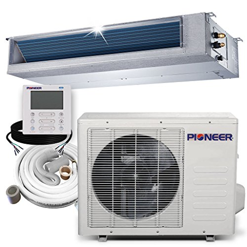 PIONEER Air Conditioner Pioner Ceiling Concealed Recessed Split Ducted Inverter+ Heat Pump System Set, 18000 BTU