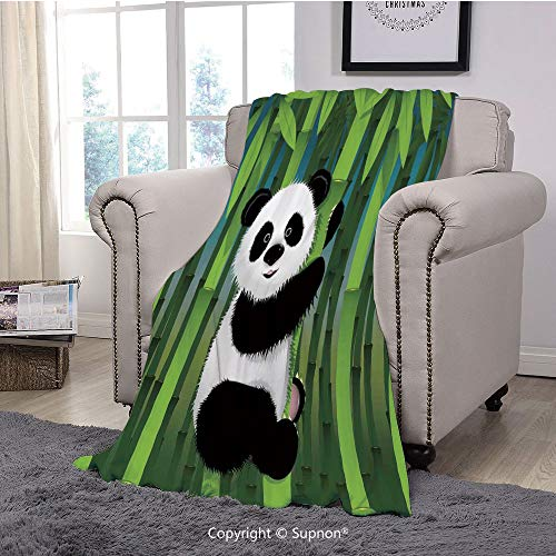 Printing Blanket Coral Plush Super Soft Decorative Throw Blanket,Cartoon,Curious Baby Panda on Stem of The Bamboo Bear Jungle Wood Illustration,Fern Green Black White(59