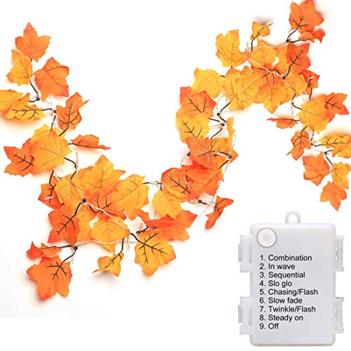 Luditek 14.7ft Thanksgiving Decorations Autumn Garland - Thanksgiving Decor Fall Garland Lights with 40 LED - 8 Blinking Modes - Waterproof