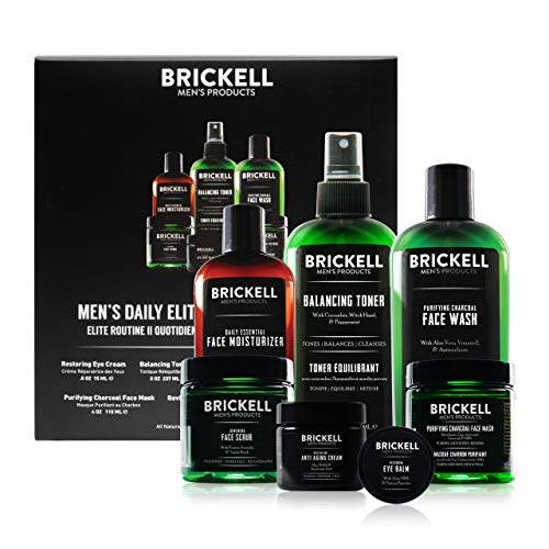 Brickell Men's Daily Elite Face Care Routine II, Toner, Charcoal Facial Wash, Face Scrub, Anti-Aging Night Cream, Eye Cream, Charcoal Mask and Moisturizer, Natural and Organic, Unscented