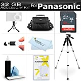 32GB Accessory Kit For Panasonic HC-V180K, HC-WXF991K, HC-W580K, HC-V380K, HC-VX981K, HC-VX870K, HC-V770K, HC-WX970K HD Camcorder Includes 32GB High Speed SD Memory Card + Case + 57 Tripod + More
