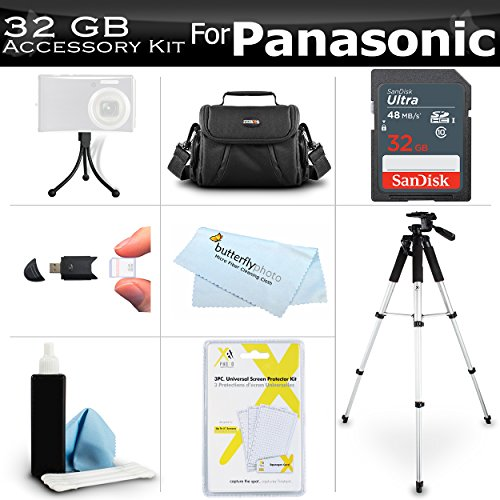 32GB Accessory Kit For Panasonic HC-V180K, HC-WXF991K, HC-W580K, HC-V380K, HC-VX981K, HC-VX870K, HC-V770K, HC-WX970K HD Camcorder Includes 32GB High Speed SD Memory Card + Case + 57 Tripod + More by Butterfly