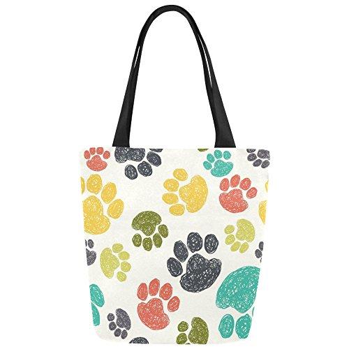 InterestPrint Colorful Dog Paw Foot Print Canvas Tote Bag Shoulder Handbag for Women Girls by InterestPrint