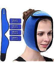 Face Ice Pack för käke, huvud och haka – varm och kall gelpaket för visdomständer, käk/haksmärta, TMJ smärtlindring, tandsmärta, huvudvärk och mer – justerbart omslag inkluderar 4 mjuka gelpaket