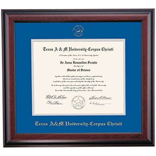 Texas A&M Corpus Christi TAMUCC Islanders Diploma Frame Blue Gray Matting Embossed Seal by Campus Linens