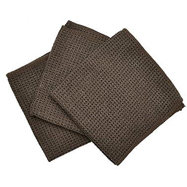 Eurow Microfiber Waffle Weave Dish Cloth (3-Pack, Brown)