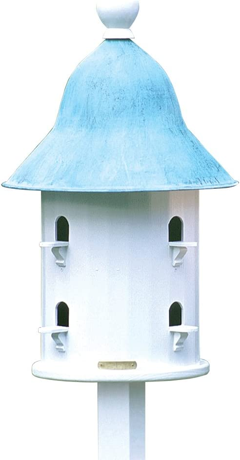Lazy Hill Farm Designs 43413 Bell House White Solid Cellular Vinyl with Blue Verde Copper Roof, 17-Inch by 23-1/2-Inch