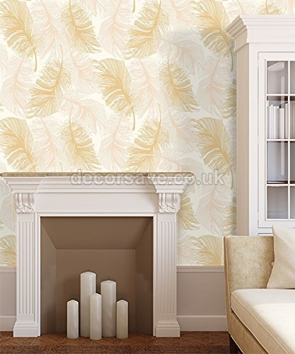 Coloroll By Crown Feather Gold Effect Glitter Wallpaper M0926