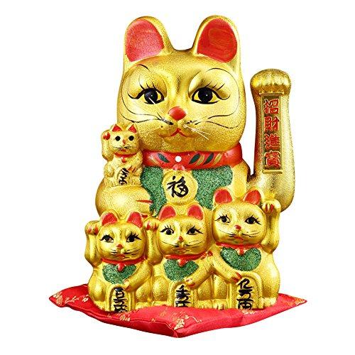 """12"""" Waving Lucky Fortune Cat Maneki Neko Japanese Porcelain Lucky Cat"""