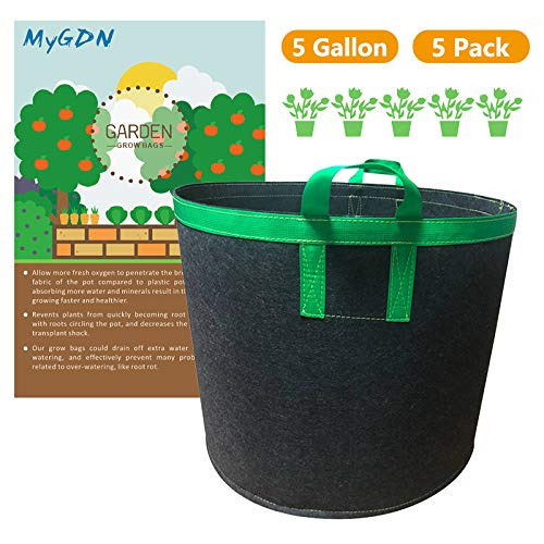 MyGDN Grow Bags, 5 Gallon Thickened Nonwoven Fabric Pots Nursery Garden Pots with Handles Heavy-Duty Plant Container Grow Bags 5-Pack