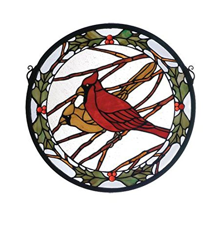 Meyda Tiffany 65289 Cardinals & Holly Medallion Stained Glass Window Panel, 15