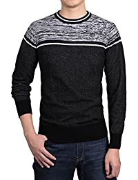 Allegra K Men Crew Neck Contrast Stripes Knitted Long Sleeves Sweaters Pullover