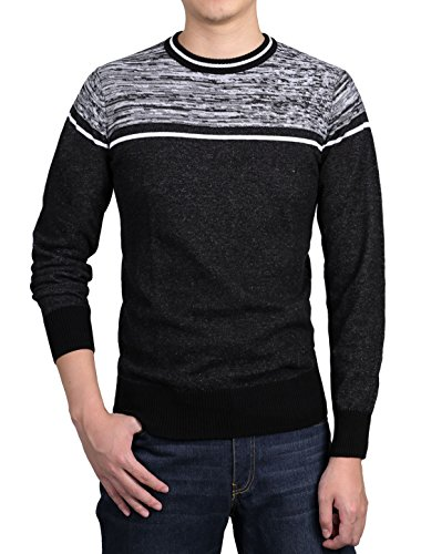 uxcell Men Knitted Crew Neck Spliced Stripes Ribbed Trims Thin Pullover Black White L(US - Trim Striped Crewneck Sweater