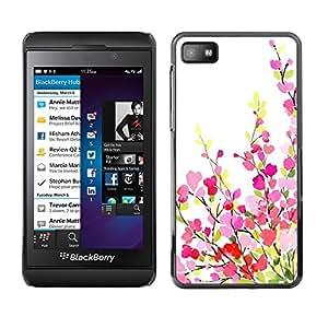 TopCaseStore / la caja del caucho duro de la cubierta de protección de la piel - Green White Pink Purple Spring - Blackberry Z10