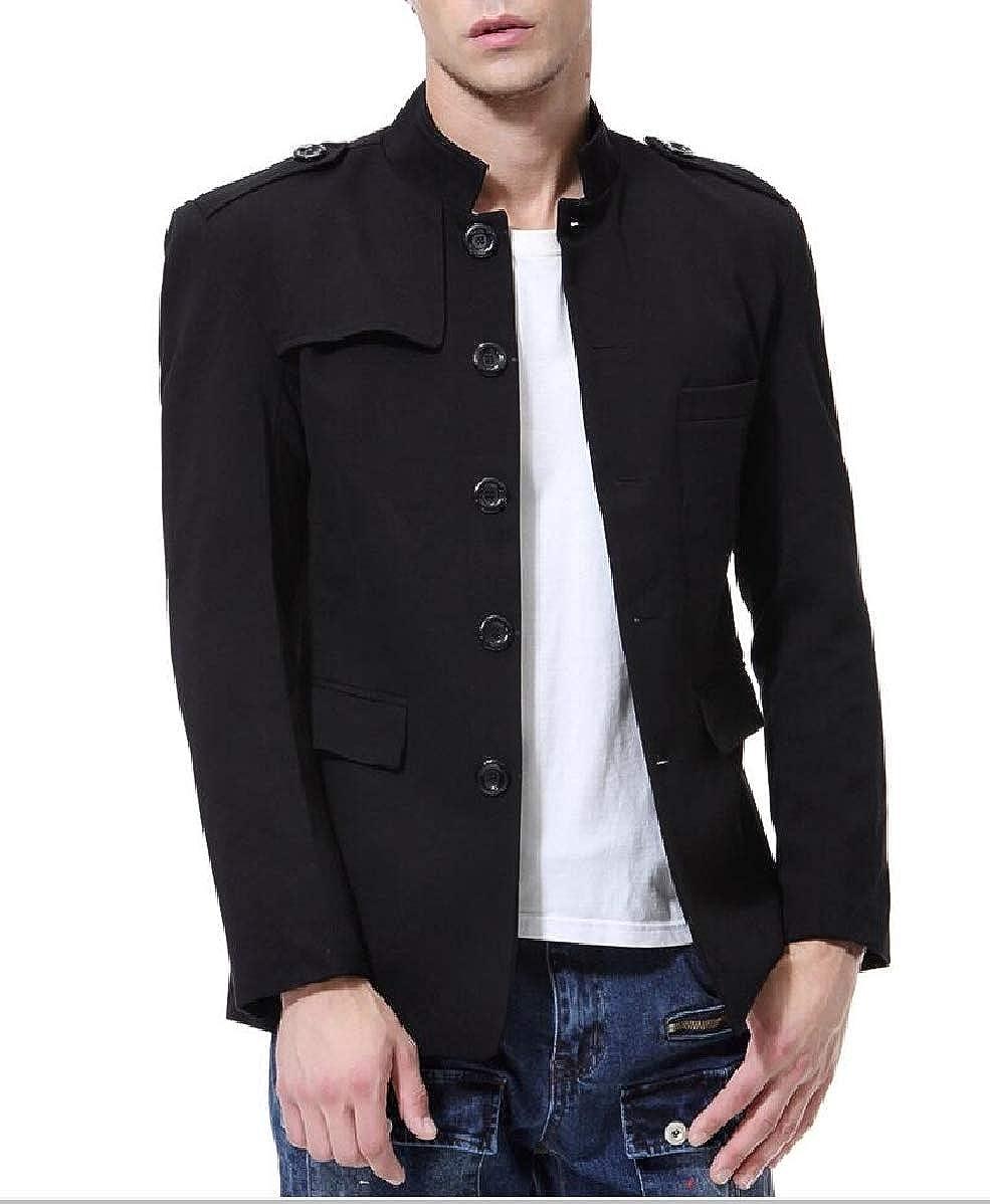 CBTLVSN Mens Vintage Slim Fit Stand Neck Chinese Tunic Suit Jacket Blazer Jacket