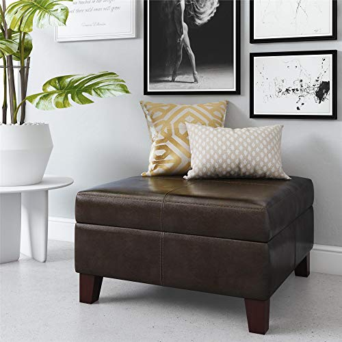 Dorel Living Faux Leather Square Storage Ottoman, Espresso (Room Table Living Ottoman Coffee)