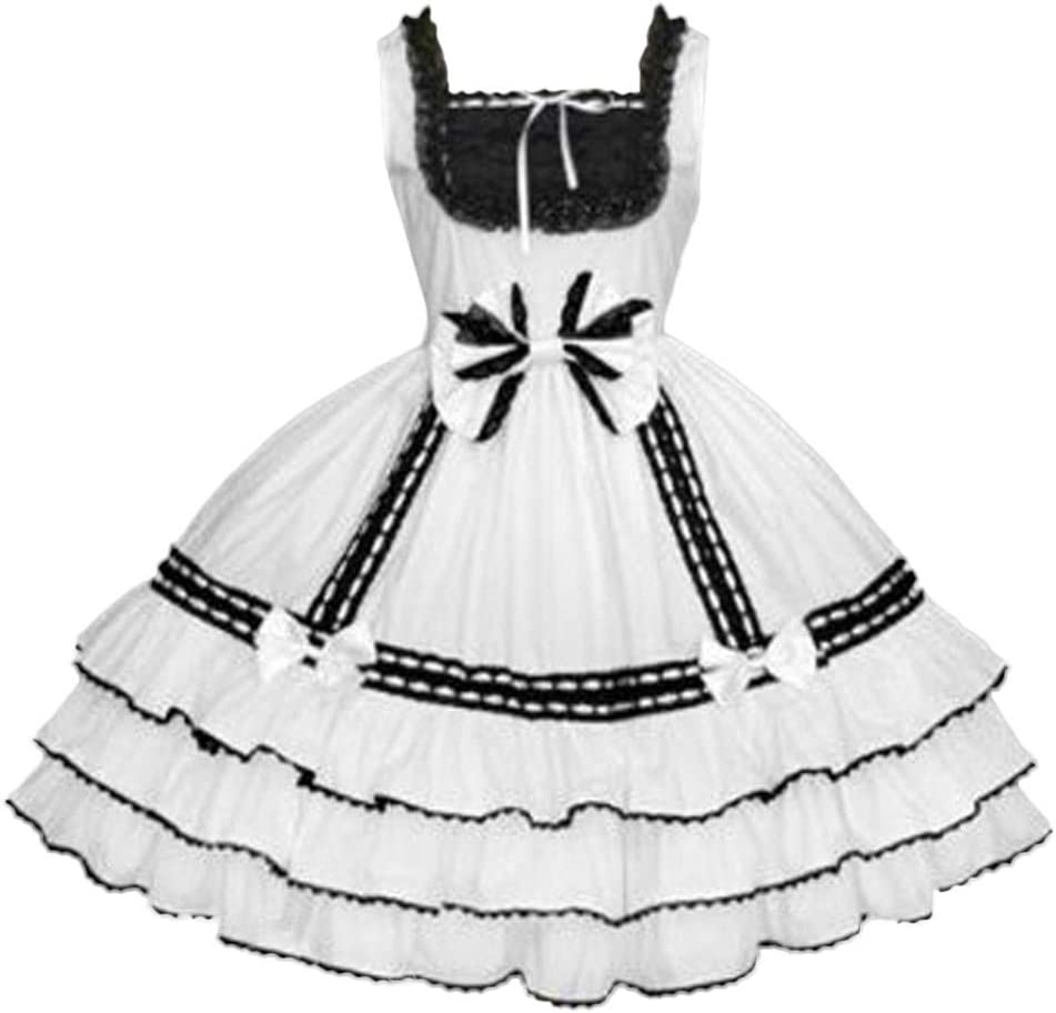 Medieval Dress Gothic Palace Vintage Costume 1920s Lace Dresses Lace Maid Lolita Skirt Bowk Sleeveless Princess Dress Masquerade Party Carnival Cosplay Costume Adult