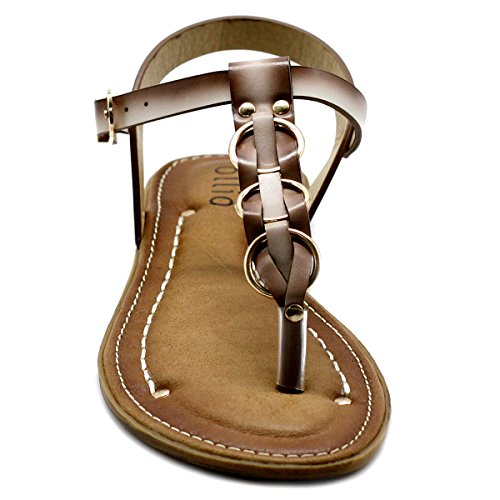 Flat Ollio Fade T Women's Shoe Zori Burnish Sandal Beige Strap Vintage wnqq8RXr6x