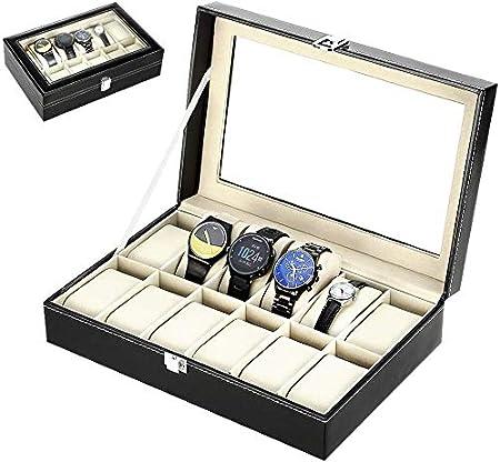 Zogin Caja de Almacenamiento de Reloj/Soporte de Exhibición de Relojes para Guardar 12 Relojes o Pulseras, Color Negro: Amazon.es: Hogar