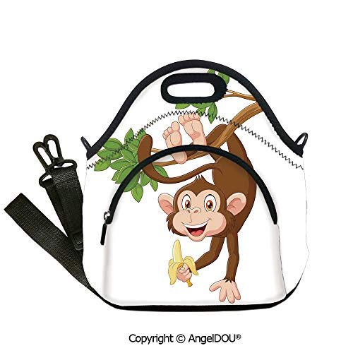 AngelDOU Cartoon Reusable Insulated Lunch Bags with Pocket Funny Monkey Hanging from Tree with Banana Jungle Animals Theme Mascot Print Decorative for Women Kids Baby Girls.12.6x12.6x6.3(inch)]()