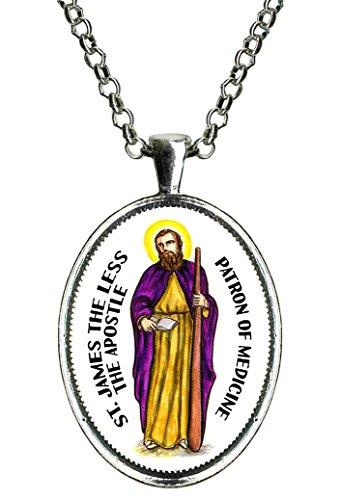 St James the Less Apostle Patron of Medicine Huge Silver Pendant