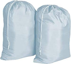 """WeTest 2 Pack Large Nylon Laundry Bag with Drawstring Closure and Rip Resistant Material, 28"""" x 38"""", Blue"""