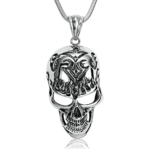 ANAZOZ Stainless Steel Necklace for Men Pendant Necklace Silver Black Skull Tatto Flaming Mask 3.8x6.6CM]()