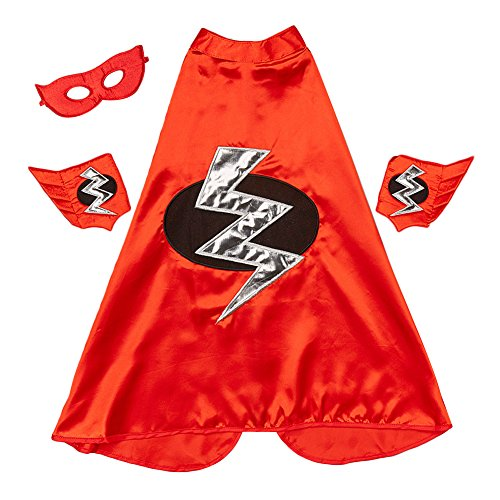 [Red Lightning Bolt Cape, Cuffs & Eyemask Set] (Lightning Bolt Costumes)