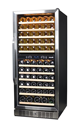NewAir AWR-1160DB Premier Gold Series 116 Bottle Built-In Wine Cooler, Stainless Steel/Black by NewAir