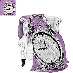 Doodlefluffy blanketRetro Alarm Clock Figure with Grunge Effects Classic Vintage Sleep Graphicbed Blanket 80x60 Purple White Black