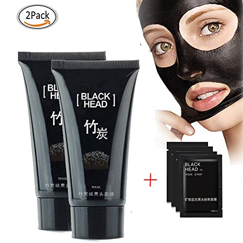 [Blackhead Remover Mask Tearing style Deep Clean Purifying Peel off the Black head, Oil-control Anti-aging Acne Treatment, Black Mud Face Mask 60g (Pack of 2] (Peeling Face Costume)
