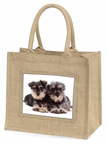 Advanta Miniatur Schnauzer Hunde Große Einkaufstasche/Weihnachten Geschenk, Jute, beige/natur, 42x 34,5x 2cm