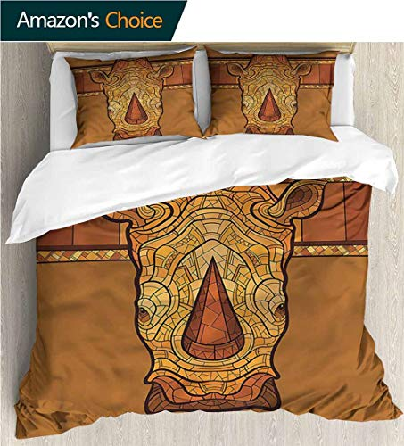 VROSELV-HOME 3 Pcs King Size Comforter Set,Box Stitched,Soft,Breathable,Hypoallergenic,Fade Resistant with 2 Pillowcase for Kids Bedding-Animal Rhinoceros Head (68